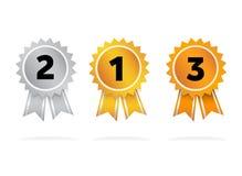 O prêmio badges a prata de bronze do ouro Imagem de Stock Royalty Free
