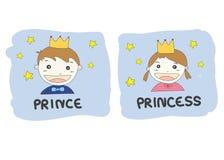 O príncipe e a princesa dos desenhos animados com ouro coroam estrelas amarelas e Fotos de Stock Royalty Free
