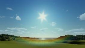 O prado verde, timelapse nubla-se, nascer do sol à tarde, mosca sobre filme