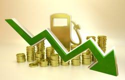 O preço de diminuições do combustível Foto de Stock