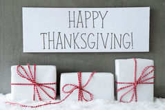 O presente branco na neve, Text a ação de graças feliz Foto de Stock Royalty Free