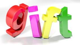 O presente 3D colorido escreve - a rendição 3D Foto de Stock Royalty Free