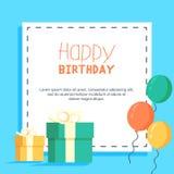 O presente do cartão balloons o partido Imagens de Stock Royalty Free