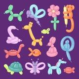 O presente festivo ajustado dos desenhos animados da ilustração do vetor dos animais do balão arredondou o brinquedo colorido dos ilustração stock