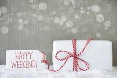 O presente, fundo do cimento com Bokeh, Text o fim de semana feliz Imagens de Stock