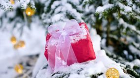 O presente vermelho de ano novo do close-up com uma fita branca ao lado dos brinquedos do Natal nos ramos de uma árvore de Natal  filme