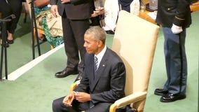 O presidente Barack Obama dos E.U. guarda um discurso, a assembleia geral dos United Nations filme
