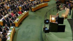 O presidente Barack Obama dos E.U. guarda um discurso, a assembleia geral dos United Nations video estoque