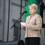 O presidente da república de Lituânia Dalia Grybauskaite está fazendo o discurso Fotos de Stock Royalty Free
