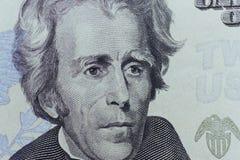 O presidente Jackson dos E.U. enfrenta em vinte ou 20 dólares de conta Imagens de Stock