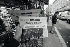 O presidente novo de New York Times Donald Trump EUA imagens de stock