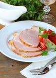 O presunto cozido seriu com salada Imagens de Stock
