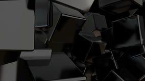 O preto abstrato cuba o fundo contexto digital Fotografia de Stock Royalty Free