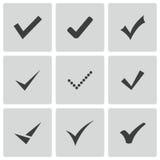 O preto do vetor confirma os ícones ajustados Imagens de Stock Royalty Free