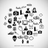 O preto dos cuidados médicos rabisca os ícones tirados mão da medicina ajustados no branco Ilustração do vetor EPS10 ilustração royalty free