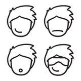 O preto tirado da ilustração da garatuja do ícone do vetor do avatar da cara do homem mão ajustada alinha Fotos de Stock