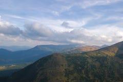 O primeiro açafrão branco e cor-de-rosa floresce a florescência em Carpathians Imagem de Stock