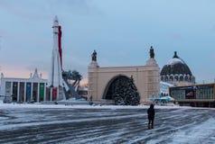 O primeiro foguete em uma exposição em Moscou no inverno Imagens de Stock Royalty Free