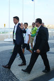 O primeiro ministro italiano Matteo Renzi atende à competição automóvel do ` s dos homens dos Olympics do Rio 2016 na praia de Co Fotografia de Stock
