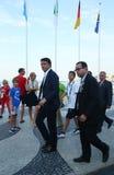 O primeiro ministro italiano Matteo Renzi atende à competição automóvel do ` s dos homens dos Olympics do Rio 2016 na praia de Co Fotografia de Stock Royalty Free