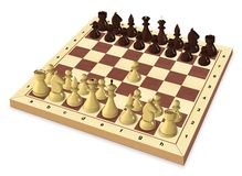 O primeiro movimento do jogo de xadrez Imagens de Stock