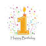 O primeiro vetor feliz da vela do aniversário com confetes coloridos e os balões vector o fundo da ilustração ilustração stock