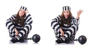 O prisioneiro em uniforme listrado no branco Fotos de Stock