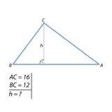 O problema de encontrar a altura de um triângulo direito pelo teorema pitagórico Imagem de Stock Royalty Free