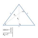 O problema de encontrar a altura de um triângulo isósceles pelo teorema pitagórico Fotos de Stock
