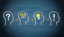 O problema, pensa, ideia, solução - conceito do negócio ilustração royalty free