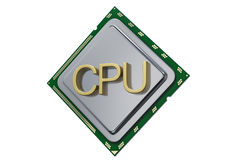 O processador central do conceito da unidade do processador isolado no fundo branco 3d rende Fotografia de Stock