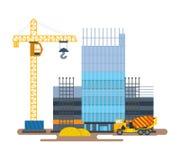 O processo de hotel da construção com guindaste e o misturador concreto Fotos de Stock