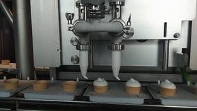 O processo de produção de gelado Trabalhador da mão que toma o gelado do transporte video estoque