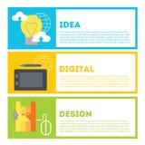 O processo do desenhista de trabalho da ideia resultar Ideia, desenho digital, projeto Imagens de Stock Royalty Free