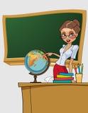 O professor bonito da mulher dos desenhos animados mostra no globo Foto de Stock Royalty Free