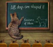 O professor do gato escreve em um quadro-negro ilustração do vetor