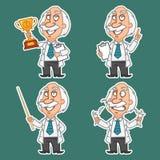 O professor em várias poses ajustou as etiquetas 1 Imagens de Stock Royalty Free