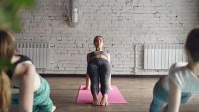 O professor fêmea da ioga está mostrando a pose ascendente Purvottanasana da prancha e está dizendo-a sobre ela quando seus estud vídeos de arquivo