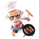 O professor louco com fome do cientista cozinha um BBQ delicioso do assado, ilustração 3d