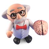 O professor louco do cientista do gênio estuda um cérebro humano, ilustração 3d