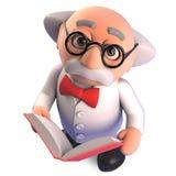 O professor louco do cientista do gênio lê um livro muito interessante, ilustração 3d