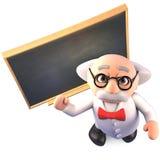 O professor louco esperto super do cientista ensina no quadro, ilustração 3d