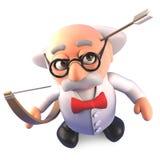 O professor louco propenso a los accidentes dispara ele mesmo do cientista na cabeça com seta, ilustração 3d