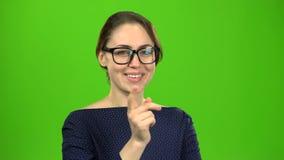 O professor na classe escolhe quem responderá Tela verde video estoque