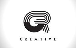 O progettazione di Logo Letter With Black Lines Linea vettore Illus della lettera Fotografia Stock