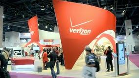 O programa demonstrativo de Verizon durante APANHA a exposição 2014 da mostra em Las Vegas, EUA, video estoque