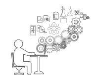 O programador de software ou o freelancer estão codificando, igualmente representam um analista do negócio que recolhe exigências Foto de Stock Royalty Free