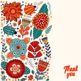 O projeto, as flores e a folha de cartão floral rabiscam elementos Fotos de Stock Royalty Free