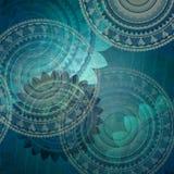 O projeto azul elegante do fundo com a flor extravagante do selo dá forma no teste padrão aleatório abstrato Fotos de Stock Royalty Free