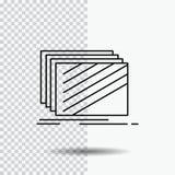 O projeto, camada, disposição, textura, texturas alinha o ícone no fundo transparente Ilustra??o preta do vetor do ?cone ilustração stock